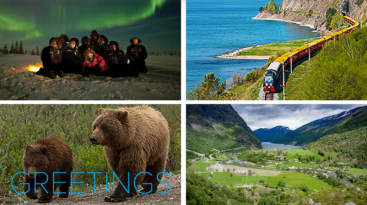 Travelers under the Northern Lights, the Trans-Siberian Railway, bears wander in Alaska, and fjords of Norway