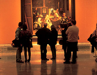 Tourists in an art gallery in Iberia