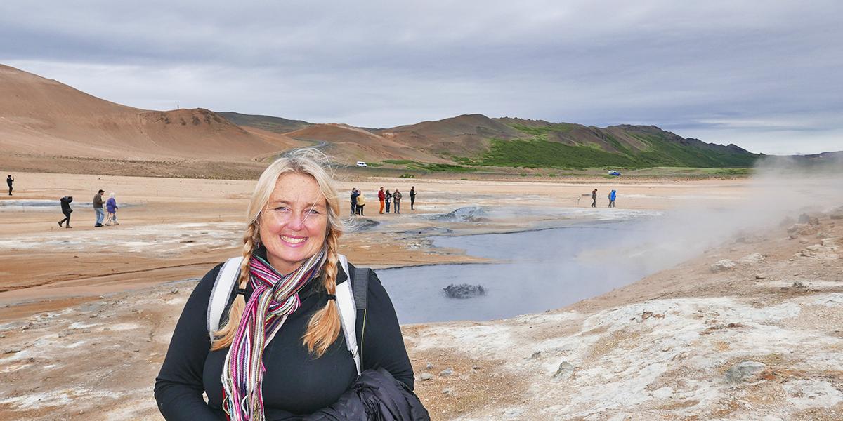 Christel in the vast Icelandic landscape