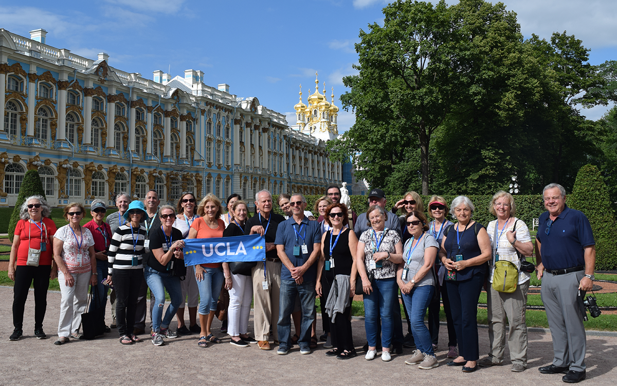 Travelers enjoy the beautiful Catherine's Palace in St. Petersburg in the company of travel lecturer Jared McBride, Department of History. Imperial Splendors of Russia, July 18-27, 2018.