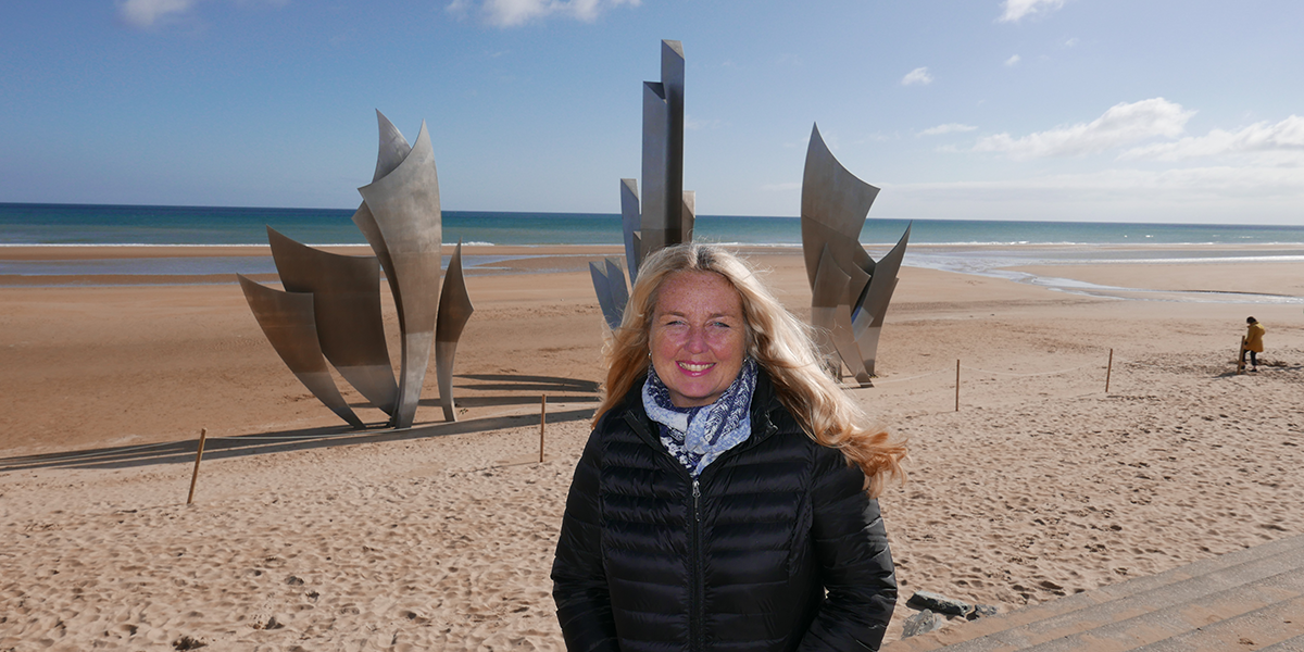 Christel at the beaches of Normandy