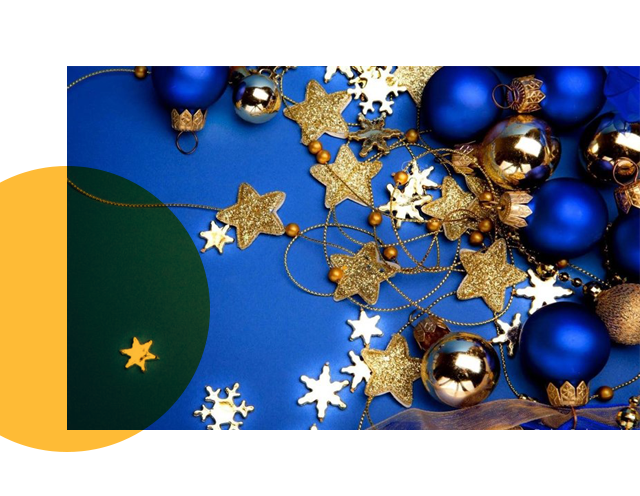 Holiday Blue and Gold Decor