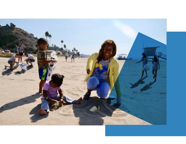 Volunteer at beach clean-up